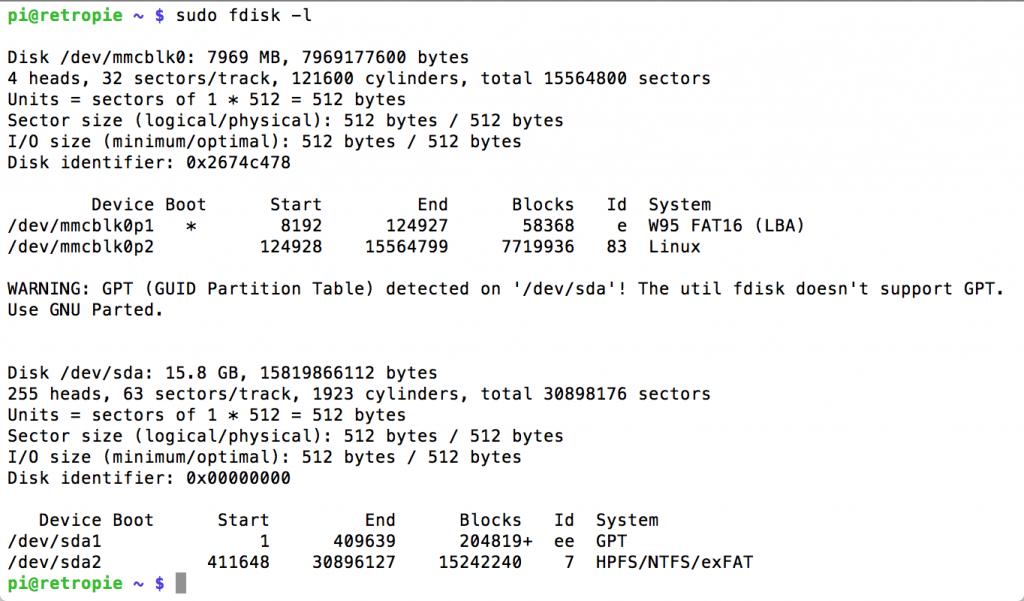 Ejecución del comando sudo fdisk -l en Raspberry Pi