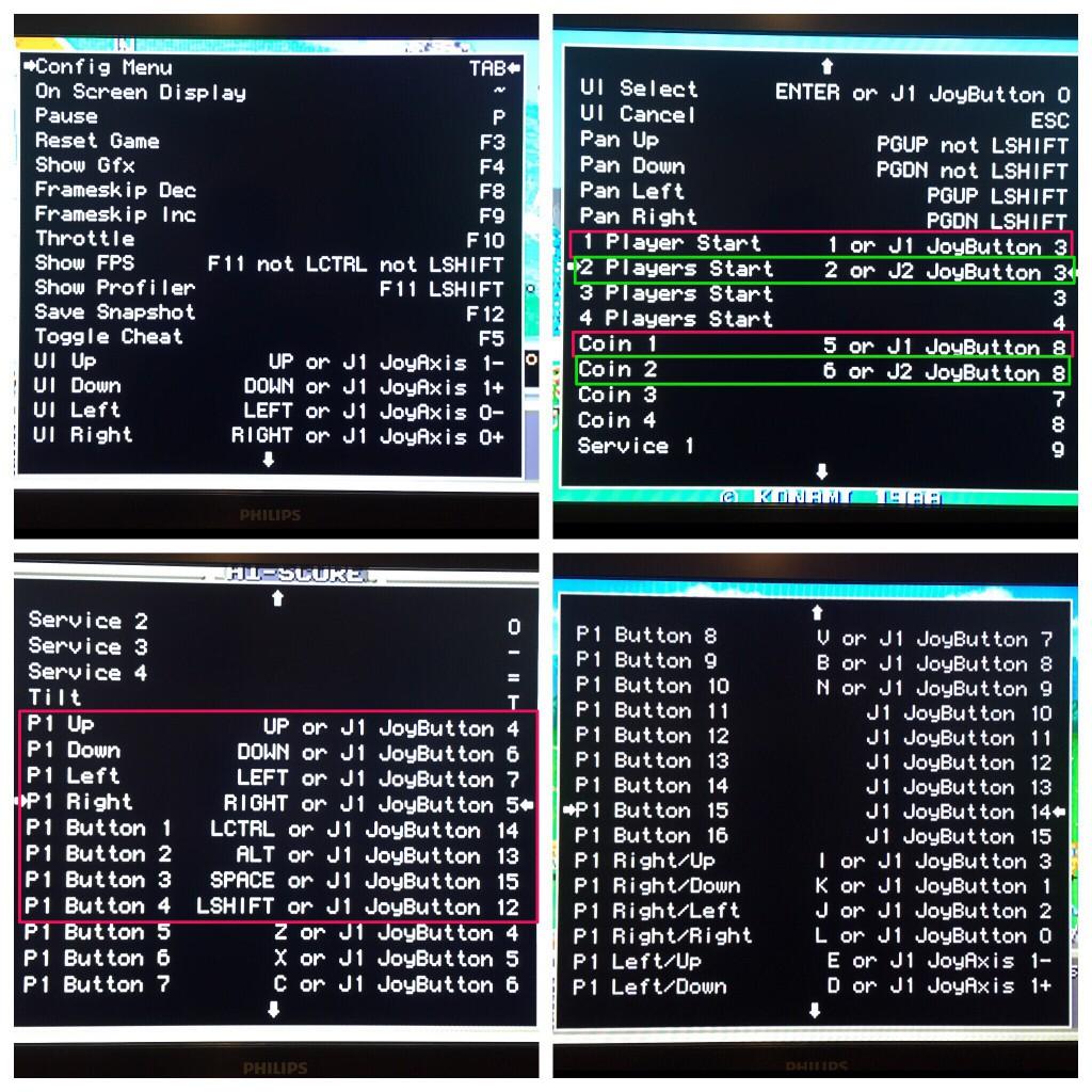 Menú de configuración MAME - Controles Jugador 1