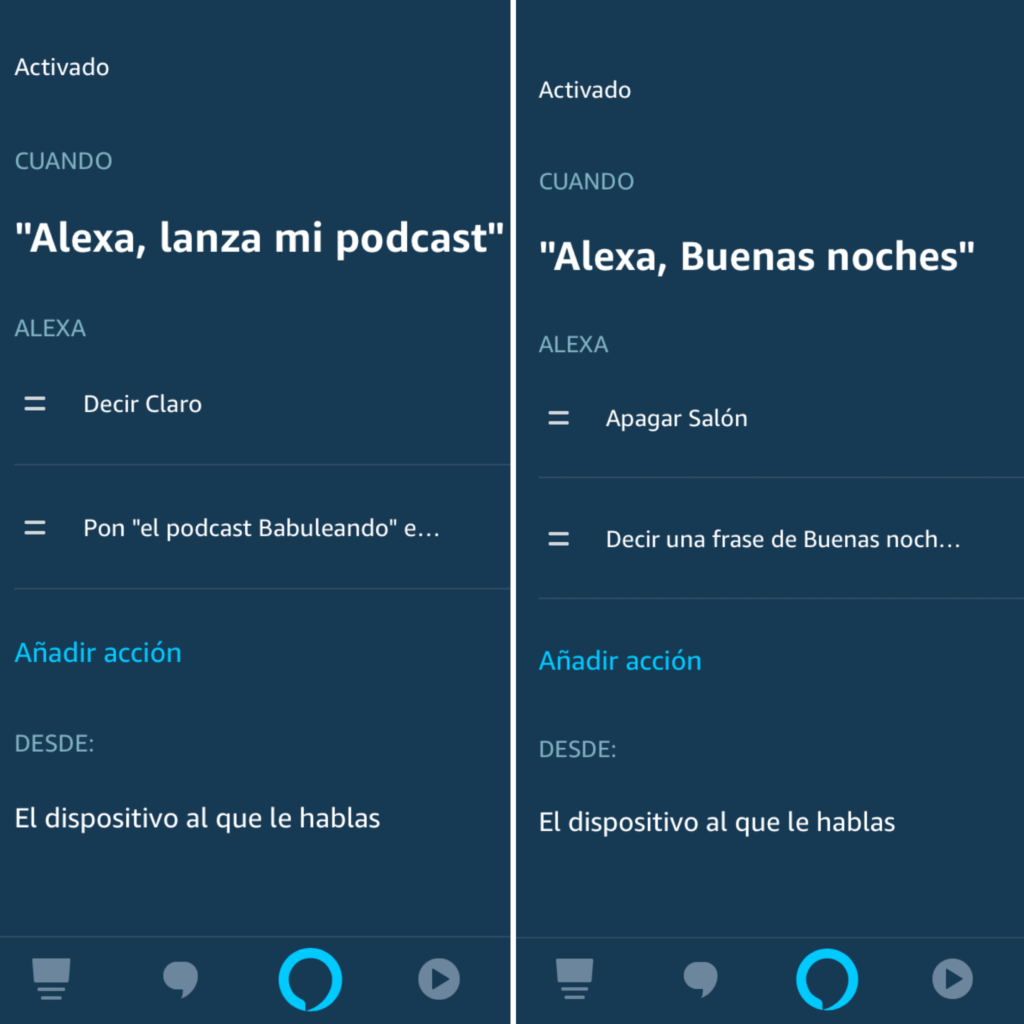 Rutinas en Amazon Echo