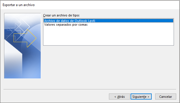 Exportar correo a un archivo .pst